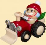 Kugelräuchermann Nikolaus fährt Traktor