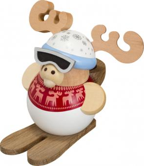 Kugelräucherfigur Ski-Elch
